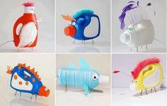 muñecos hechos con botellas de plástico