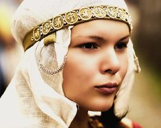 That gold embroidered ocheliye/band is to die for. 11-12th century? Russian woman.