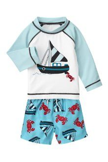 Look forward to playful swim days in Gymboree's sailboat styles! Our colorful crab swim trunk and coordinating rash guard keep him comfy in and out of the water.
