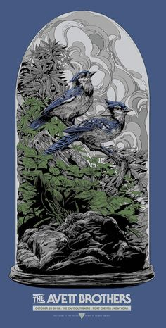 New Concert Posters for The Avett Brothers and Jack White by Ken Taylor (Onsale Info) - Dr Wong - Emporium of Tings. Omg Posters, Band Posters, Wave Illustration, Graphic Design Illustration, Jack White, Ken Taylor, Bird Artwork, Collor, Skateboard Art