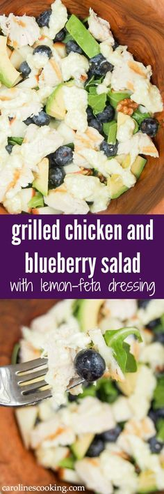 This grilled chicken and blueberry salad is healthy, easy to make & full of delicious flavors from the lemon-feta dressing to berries & nuts. A great lunch.