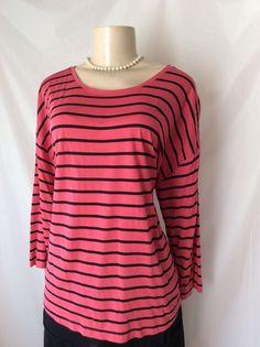 J.Jill XL Stripe Black Pink 3/4 Sleeve Top Rayon Blend Casual GUC #JJill #Blouse #Casual