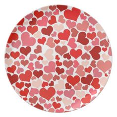 Pink and red hearts dinner plate