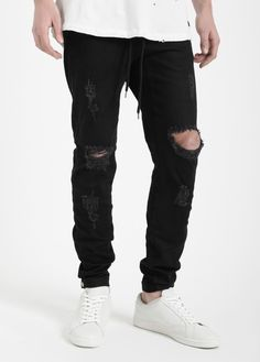 40885463d0 Buttoned Drawstring Ripped Jeans Black