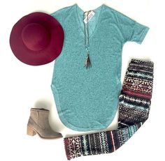 """""""Trendy Tunic Top"""" $36 """"Winter Wonderland"""" Fleece Leggings $18 YOU WILL NOT BELIEVE  HOW AMAZINGLY CUTE, COMFY AND WARM THESE LEGGINGS ARE """"Bacchanal Bootie"""" $40  """"Braided Hat"""" $24  """"Oyster Pearl"""" Necklace $28"""
