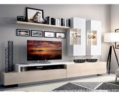 Modern living room furniture in Madrid Living Room Tv Unit, Home Living Room, Living Room Furniture, Living Room Decor, Small Living Room Ideas With Tv, Small Living Rooms, Living Room Designs, Modern Tv Room, Modern Tv Wall Units