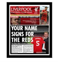 Liverpool FC Personalies Newspaper, comes fully framed and personalised to your requirements. Includes your name, age and favourite jersey number, you become the next big signing at Liverpool. This is a great gift idea for any Liverpool fan. Order yours today at www.totalgiftz.com Personalised Football, Personalised Gifts, Liverpool Fans, Liverpool Football Club, Gifts For Football Fans, Name Signs, Newspaper, How To Become, Names
