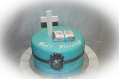 """Baby Boy Silver, white & Blue """"Baby Dedication"""" cake with fondant cross and Bible"""