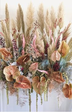 Dried Flowers Bouquet Engagement Party Decoration Ideas Wedding Gift F – olivetal Deco Floral, Arte Floral, Floral Style, Floral Design, Wedding Decor, Floral Wedding, Wedding Flowers, Bohemian Style Home, Flower Installation
