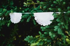 Anneke and Cameron's 40 guest outdoor DIY wedding. Photos by Nicole Payzant See more @intimateweddings.com #diy #doilies #bunting