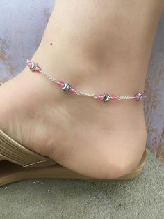 Pink Anklets for Women - Silver Anklets - Womens Ankle Bracelets - Silver Heart Anklet Womens Ankle Bracelets, Silver Ankle Bracelet, Ankle Jewelry, Gold Anklet, Silver Anklets, Beaded Anklets, Anklet Bracelet, Silver Bracelets, Beaded Bracelets