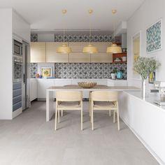 Decoração com porcelanatos e revestimentos cerâmicos, decoração com tons neutros, mesa de madeira, cozinha. Biancogres na Expo Revestir.