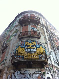Mr Chat street art in Lisbon, Portugal