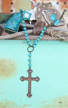 "CRYSTALED CROSS ON turquoise BEADS AND TWISTED BRONZE CHAIN. 37"" (40"" OVERALL) - Classy Cowgirl Co- Gypsy Cowgirl ,Fun & Funky Western clothing, jewelry, & Accessories by Lane Boots, Junk Gypsy, R. Ci"