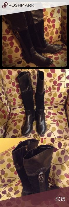 "Etienne Aigner Riding knee high boots EUC Leather and Suede upper! Great boots with lots of love left. I needed a wider calf. I am so sad to see these go! The top of the boot measures 7"" so I would say it's a small to regular calf 13""-14"" will work great! Size 7, these are used but the leather is in really good condition and the heals are not wore down at all! Beautiful details on the side of the boots horseshoe hardware along with zipper detail. Etienne Aigner Shoes Over the Knee Boots"