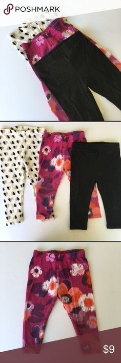 GAP 🍭Leggings!!🍭 3 pairs of leggings for baby! Solid black are GAP, purple print is Crazy 8, and gold/black glitter hearts is Cat and Jack. All excellent condition and all size 12-18m. GAP Bottoms Leggings
