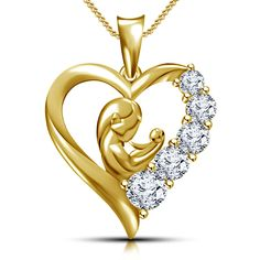 Gold Over 925 Sterling silver Mom & Child Heart Pendant For Mother's day Make For Order by on Etsy Heart Jewelry, Cute Jewelry, Gold Jewelry, Baby Jewelry, Diamond Jewelry, Gold Chain With Pendant, Diamond Pendant, Heart Pendant Necklace, Heart Pendants
