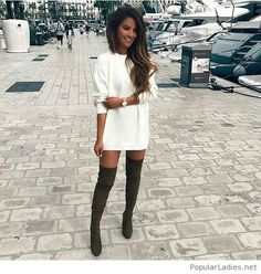 White dress and olive boots
