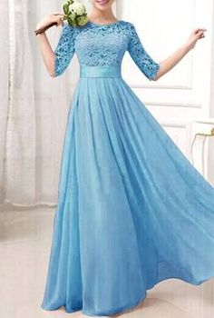 Women's Simple Blue O-Neck Solid ChiffonChiffon Floor-Length Maxi Dress - Spring Bridesmaid Dresses, Bridesmaid Dresses With Sleeves, Homecoming Dresses, Prom Dreses, Bridesmaids, Banquet Dresses, Gala Dresses, Pretty Dresses, Beautiful Dresses
