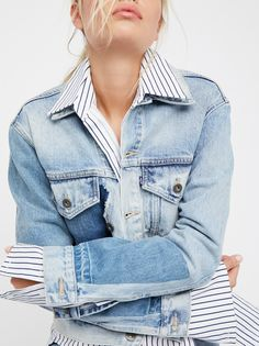 Boyfriend Patched Trucker Jacket | Relaxed and deconstructed, this trucker-inspired denim jacket is made from washed and hand finished denims sewn together to create this one-of-a-kind style. * Crafted from stretch selvedge denim * Oversized fit, yet slim through the arms and body * Button closures * Double bust pockets