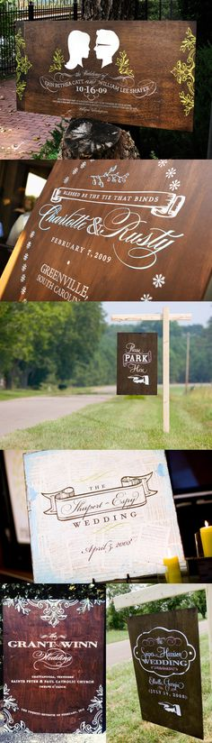 Wow! Look at all of this beautiful vintage-inspired wedding signage!