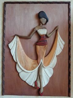 me ~ Elegance Intarsia Wood Patterns, Wood Carving Patterns, Clay Wall Art, Mural Wall Art, Clay Art Projects, Clay Crafts, Bois Intarsia, Collage Kunst, Intarsia Woodworking