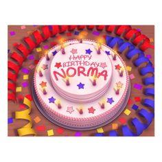 Norma's Birthday Cake Postcard