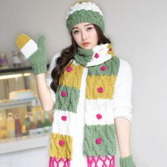 Hit color striped hat scarf and gloves set for women winter wear
