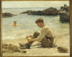 T E LAWRENCE AS A CADET AT NEWPORTH BEACH, NEAR FALMOUTH, by Henry Scott Tuke (1858-1929) in the Music Room at Clouds Hill - The painting shows the young Lawrence on the beach, with a companion swimming in the sea