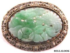 ANTIQUE STERLING SILVER CHINESE GREEN APPLE JADEITE JADE PLAQUE BROOCH PIN 8.3g
