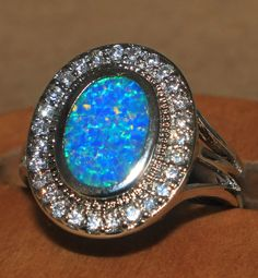 blue fire opal Cz ring Gemstone silver jewelry Sz 8 modern cocktail design HL #Cocktail