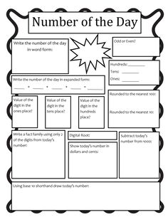 Here's another good journal form for working on number of the day. Maybe a good way for students to think about exponential or rational numbers?