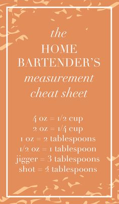 Club - A Cocktail The Home Bartender's Measurement Cheat Sheet! The Home Bartender's Measurement Cheat Sheet! Bartender Drinks, Tipsy Bartender, Bar Drinks, Alcoholic Drinks, Bartender Recipes, Beverages, Classic Cocktails, Fun Cocktails, Cocktail Drinks