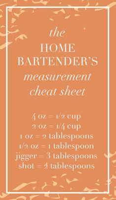 The Home Bartender's Measurement Cheat Sheet! www.thehiveblog.com