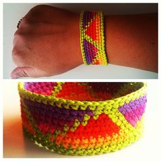 Neon geometric friendship bracelet. Crochet embroidery floss.    Twitter / Recent images by @KnitsforLife