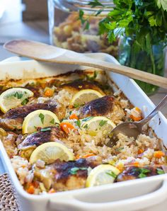 Oven Baked Lemon Chicken and Rice Casserole! Everything in the pot and in the oven! Even the uncooked rice! I think everyone has a version of this recipe in their list of faves. A lot of Oven Baked Rice, Easy Oven Baked Chicken, Rice Casserole, Casserole Recipes, Rice Recipes, Rice In The Oven, Dinner Dishes, Main Dishes, Rice Dishes