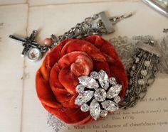 Hand Dyed Velvet Rosette Bracelet by Rebeccavintageliving on Etsy, $36.00