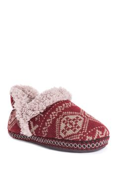 MUK LUKS Magdalena Printed Knit Faux Shearling Lined Slipper