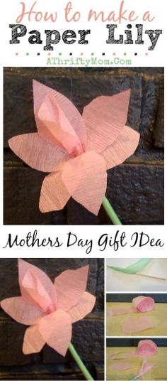 How to make a paper Lily, perfect DIY craft for kids, Mothers Day flowers that can be made as a DIY project #DIY, #MothersDay, #Flowers, #Cr...