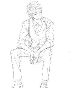 Yamamori Mika sketch Hirunaka no Ryuusei - looks like Farlan Drawing Base, Manga Drawing, Figure Drawing, Guy Drawing, Anime Drawings Sketches, Anime Sketch, Manga Poses, Art Poses, Drawing Reference Poses