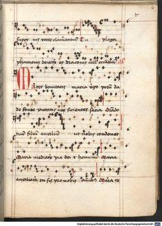 Cantionale, Geistliche Lieder mit Melodien. Münchner Marienklage Tegernsee, 3. Drittel 15. Jh. Cgm 716  Folio 14
