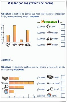"""A jugar con los gráficos de barras"" (Ficha de Matemáticas de Primaria) Multiplication Worksheets, Mathematics, Homework, Acting, Classroom, Activities, Learning, Math Charts, Trigonometry"