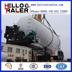 45m3 China bulk cement trailer bulker Air compressor: 0.2Mpa 12m3/min Compartment: 1 inner fluidized bed: air bag Manhole cover: 500mm manhole cover Loading Weight: 50ton / 45m3