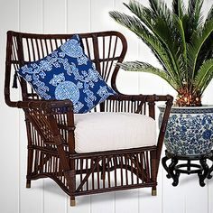 This 1940's inspired BUNGALOW WING CHAIR is hand crafted from rattan.