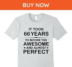 Mens Sixty-Six 66 Year Old -66th Birthday Gift Ideas Her Him Small Heather Grey - Birthday shirts (*Amazon Partner-Link)