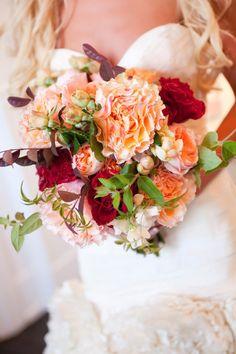 Peach garden roses, red garden roses, fall foliage