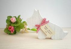 Wooden Westie Dog Decoration with Personalised Gift Tag