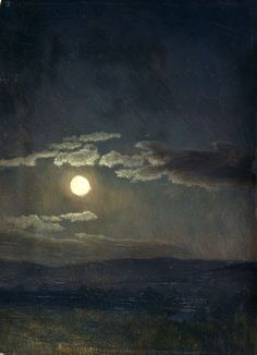 Cloudy Study, Moonlight, 1860, Albert Bierstadt.