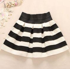 Cute Black and White Stripes Skirt
