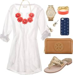 I love it all, especially if the simple shirt dress has a bit of a waist so I don't look like a marshmallow.  ;-). White tunic, Jack Rogers, Tory Burch wristlet, pearl earrings, flower statement necklace. A day of relaxing at the pool. Check out Dieting Digest